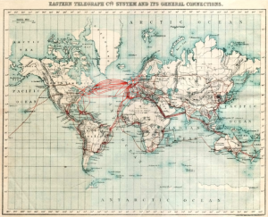 The Eastern Telegraph Co.: System and its general connections. Chart of submarine telegraph cable routes, showing the global reach of telecommunications at the beginning of the 20th century