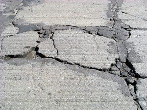 cracks in a driveway