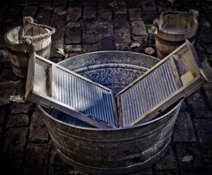 Wash Day - Visited Elizabeth farm at Parramatta while I was on holidays. They had many classes of School children visiting when I was there. They were all having a go at doing the washing, using these tubs and washboards. Makes you appreciate your washing machine.
