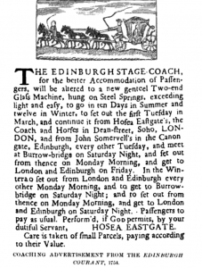 Edinburgh Stage Coach advertisement from The Edinburgh Courant, 1754